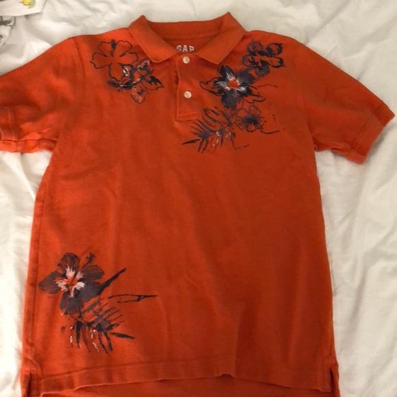 GAP Other - Boys orange floral Hawaiian gap kids polo shirt